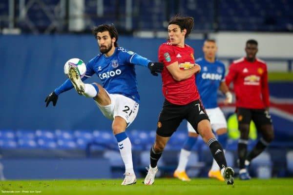 Edinson Cavani, match Everton - Manchester United