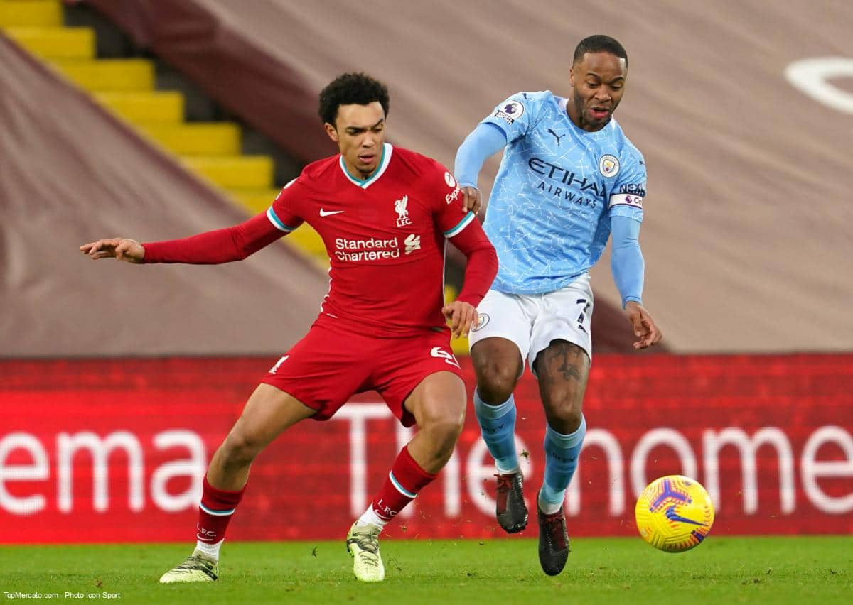 Trent Alexander-Arnold et Raheem Sterling, match Liverpool - Manchester City