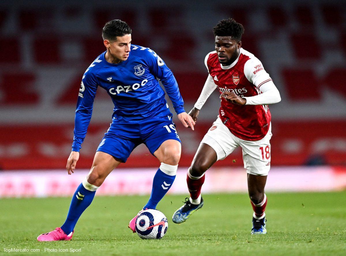 James Rodriguez et Thomas Partey, Arsenal-Everton