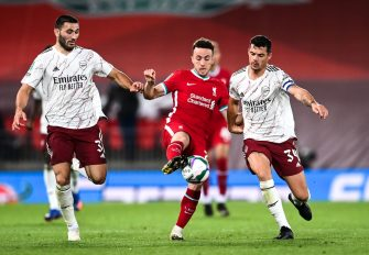 Liverpool - Arsenal, Sead KOLASINAC Diogo JOTA et Granit XHAKA