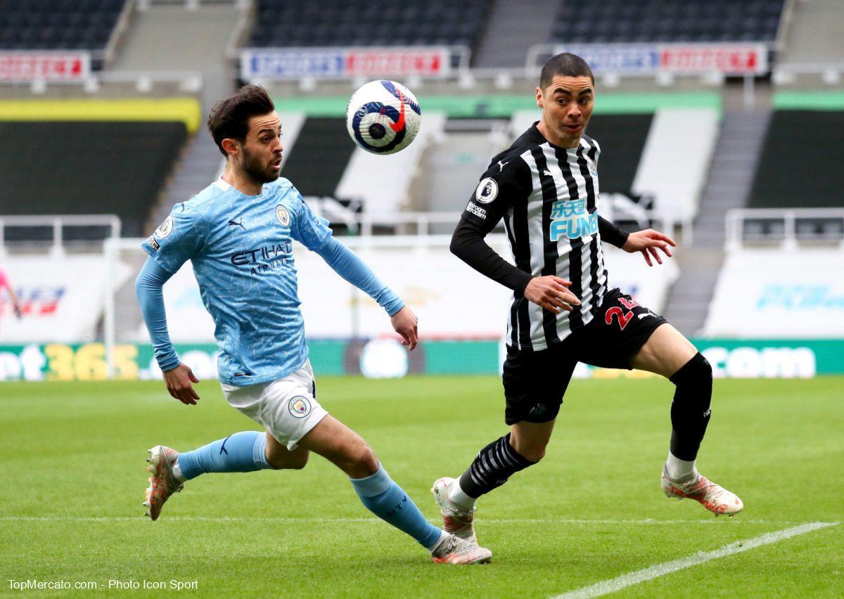 Bernardo Silva et Miguel Almiron, Newcastle-Man City