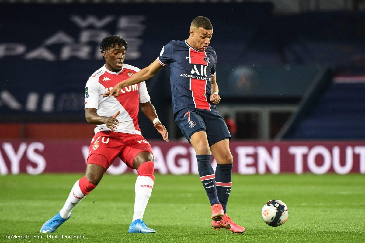 Kylian Mbappé et Axel Disasi, match PSG - Monaco