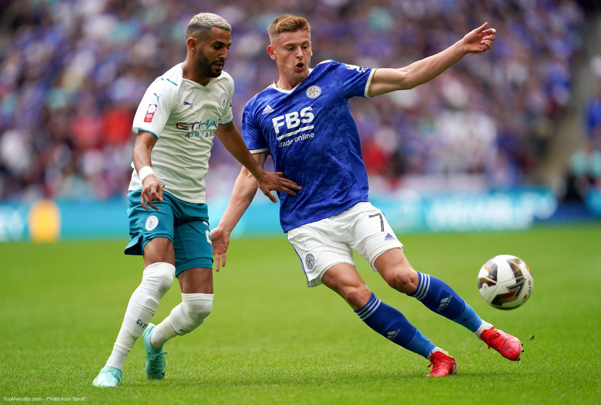 Harvey Barnes et Riyad Mahrez, Leicester-Manchester City