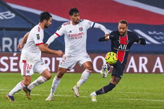 Neymar, Dubois et Paqueta, match Paris PSG - Lyon OL