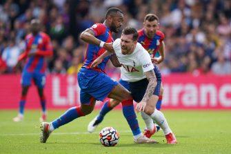 Pierre-Emile Hojbjerg et Jordan Ayew, Crystal Palace-Tottenham