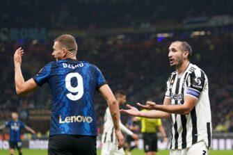 Edin Dzeko et Giorgio Chiellini, match Inter Milan-Juventus Turin