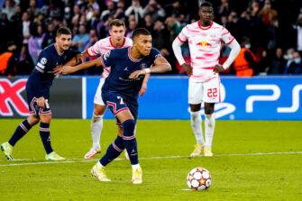 Kylian Mbappé et Nordi Mukiele, match PSG Paris Saint-Germain-Leipzig
