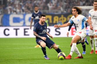 Lionel Messi et Mattéo Guendouzi, match OM Olympique de Marseille-PSG Paris Saint-Germain