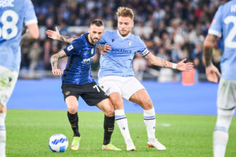 Marcelo Brozovic et Ciro Immobile, match Lazio Rome-Inter Milan