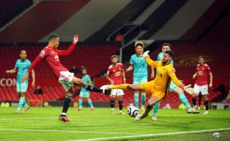 Mason Greenwood et Alisson Becker, match Manchester United - Liverpool